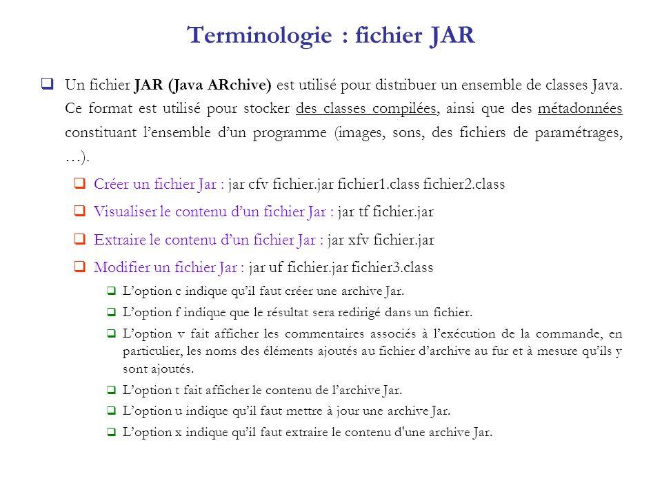 Terminologie : fichier JAR Un fichier JAR (Java ARchive) est utilisé pour distribuer un ensemble de classes Java. Ce format est utilisé pour stocker d