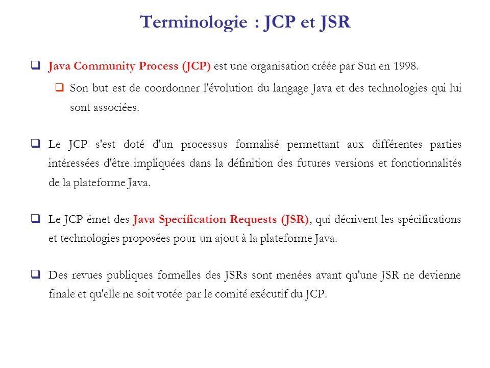 Terminologie : JCP et JSR Java Community Process (JCP) est une organisation créée par Sun en 1998. Son but est de coordonner l'évolution du langage Ja