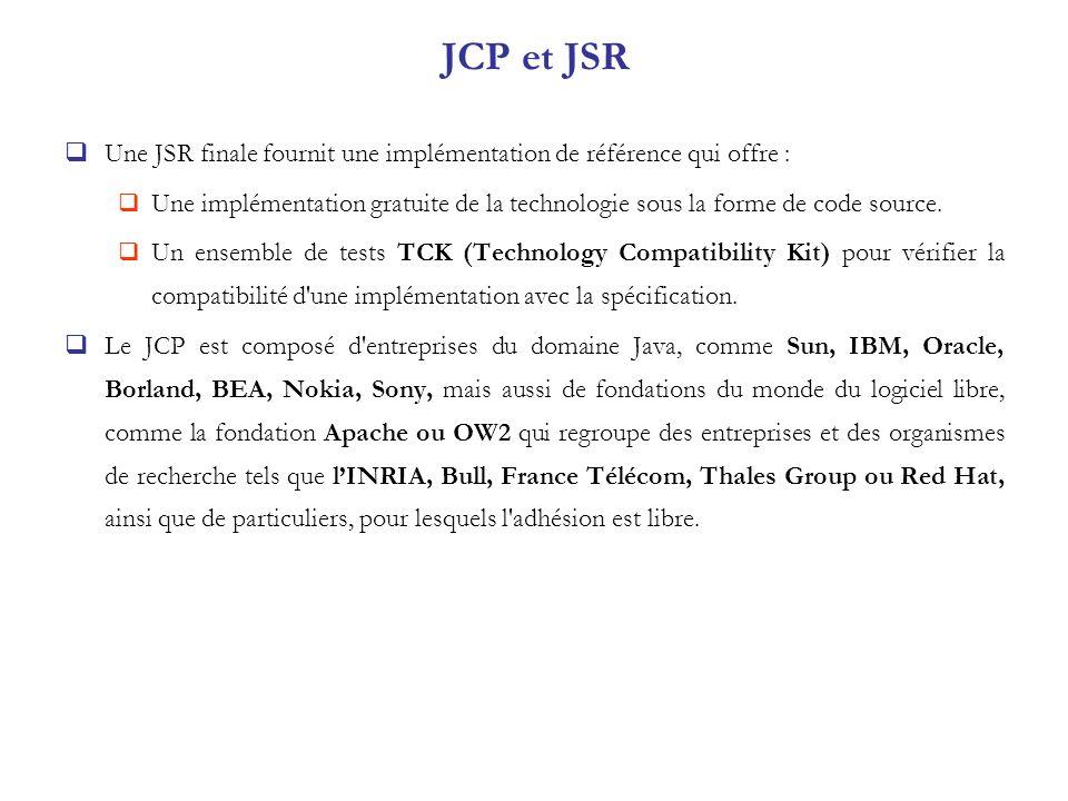 JCP et JSR Une JSR finale fournit une implémentation de référence qui offre : Une implémentation gratuite de la technologie sous la forme de code sour