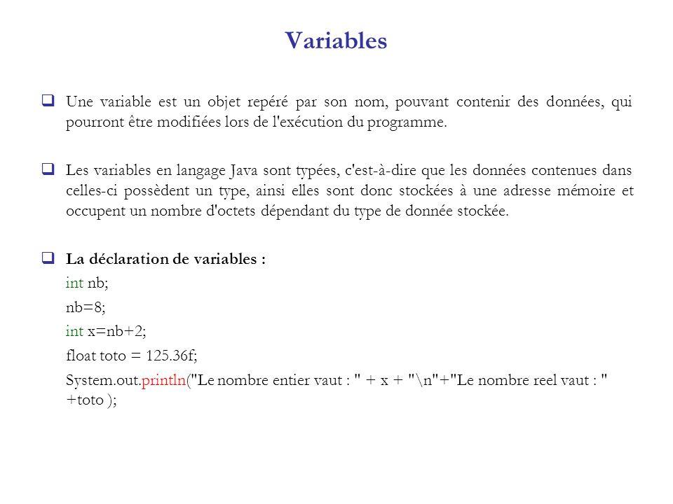 Variables Une variable est un objet repéré par son nom, pouvant contenir des données, qui pourront être modifiées lors de l'exécution du programme. Le