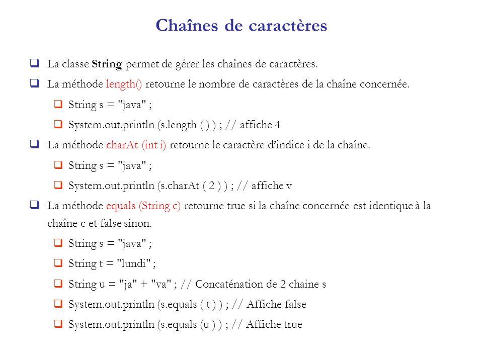 Chaînes de caractères La classe String permet de gérer les chaînes de caractères. La méthode length() retourne le nombre de caractères de la chaîne co