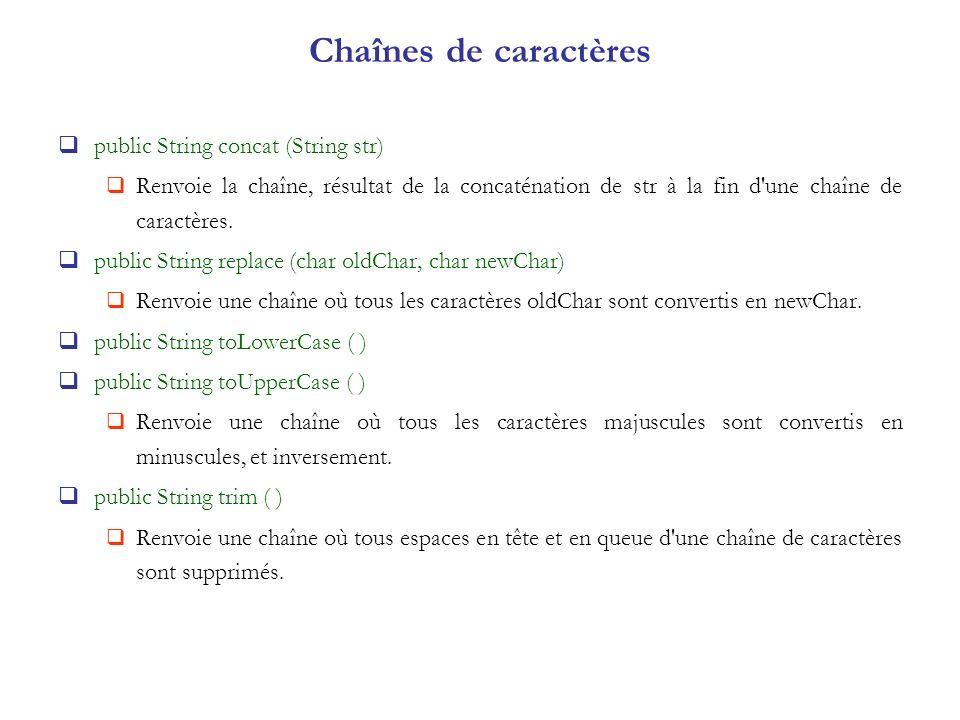 Chaînes de caractères public String concat (String str) Renvoie la chaîne, résultat de la concaténation de str à la fin d'une chaîne de caractères. pu