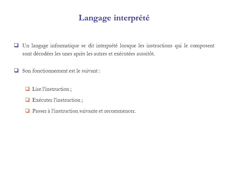 Langage interprété Un langage informatique se dit interprété lorsque les instructions qui le composent sont décodées les unes après les autres et exéc