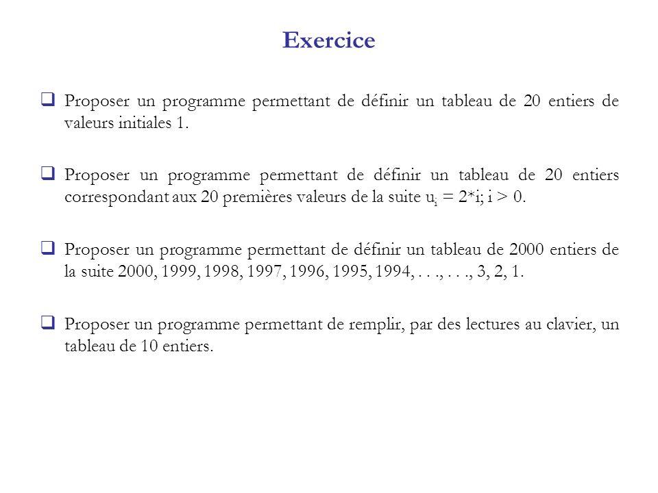 Exercice Proposer un programme permettant de définir un tableau de 20 entiers de valeurs initiales 1. Proposer un programme permettant de définir un t