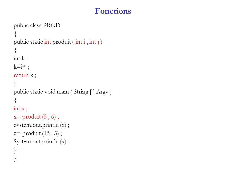 Fonctions public class PROD { public static int produit ( int i, int j ) { int k ; k=i*j ; return k ; } public static void main ( String [ ] Argv ) {