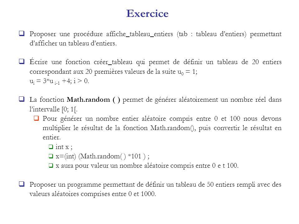 Exercice Proposer une procédure affiche_tableau_entiers (tab : tableau dentiers) permettant dafficher un tableau dentiers. Écrire une fonction créer_t