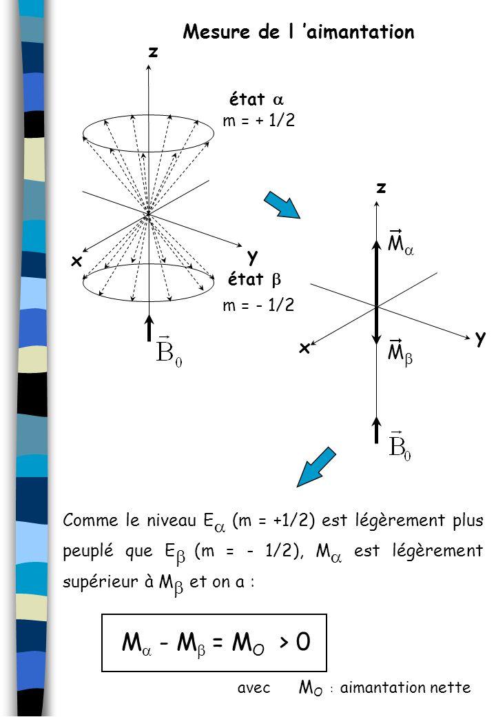 z y x m = + 1/2 m = - 1/2 y x z M M Comme le niveau E (m = +1/2) est légèrement plus peuplé que E (m = - 1/2), M est légèrement supérieur à M et on a