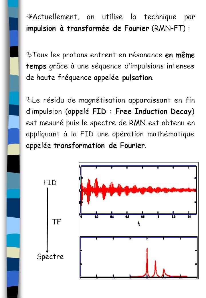 Actuellement, on utilise la technique par impulsion à transformée de Fourier (RMN-FT) : Tous les protons entrent en résonance en même temps grâce à un