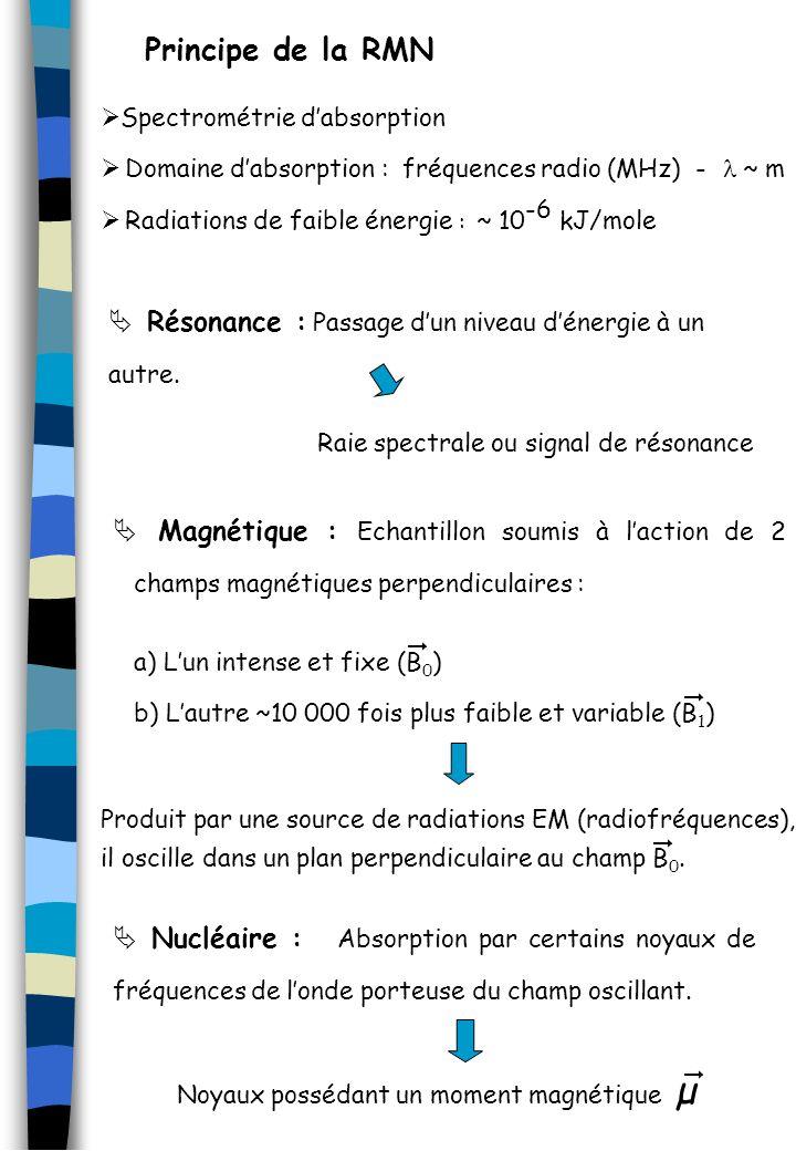 Principe de la détection en RMN Dans un champ magnétique B 0, le proton se comporte comme un barreau aimanté : il va précessionner autour de laxe du champ magnétique de la même manière quune toupie le ferait sous linfluence de la gravité.