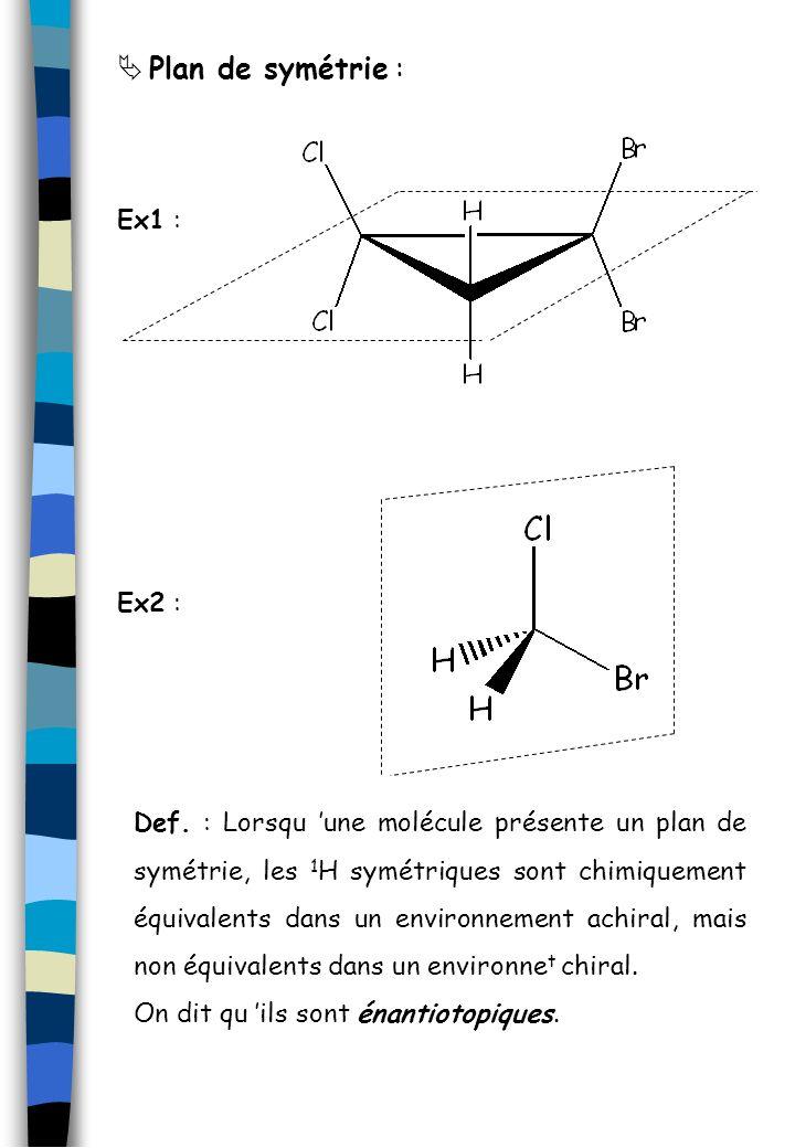 Plan de symétrie : Ex1 : Def. : Lorsqu une molécule présente un plan de symétrie, les 1 H symétriques sont chimiquement équivalents dans un environnem