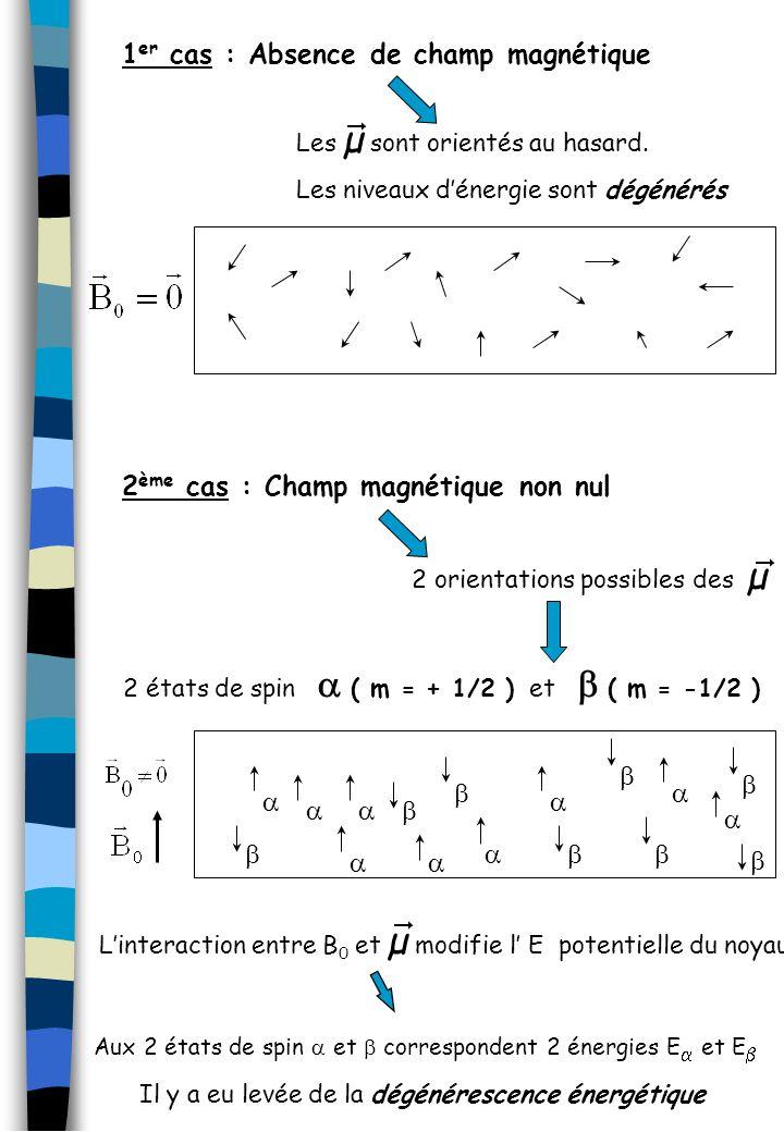 1 er cas : Absence de champ magnétique 2 ème cas : Champ magnétique non nul Linteraction entre B 0 et µ modifie l E potentielle du noyau. Aux 2 états