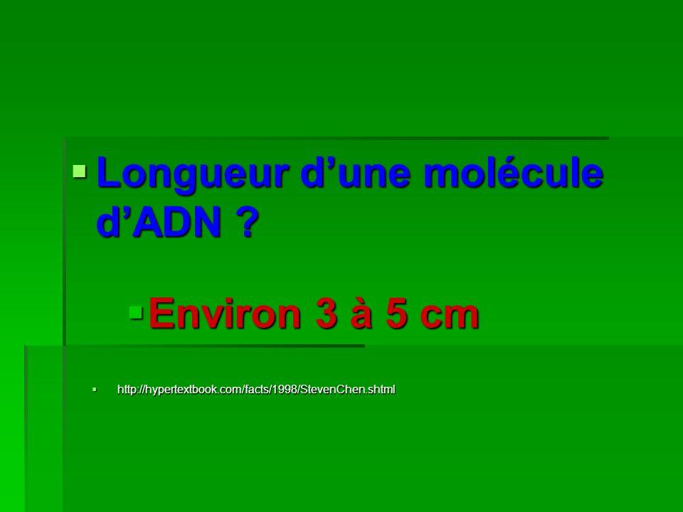Longueur dune molécule dADN ? Longueur dune molécule dADN ? Environ 3 à 5 cm http://hypertextbook.com/facts/1998/StevenChen.shtml http://hypertextbook