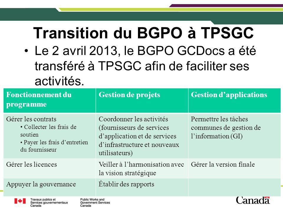 4 Transition du BGPO à TPSGC Le 2 avril 2013, le BGPO GCDocs a été transféré à TPSGC afin de faciliter ses activités. 4 Fonctionnement du programme Ge