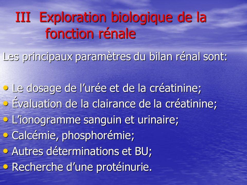 III Exploration biologique de la fonction rénale Les principaux paramètres du bilan rénal sont: Le dosage de lurée et de la créatinine; Le dosage de l