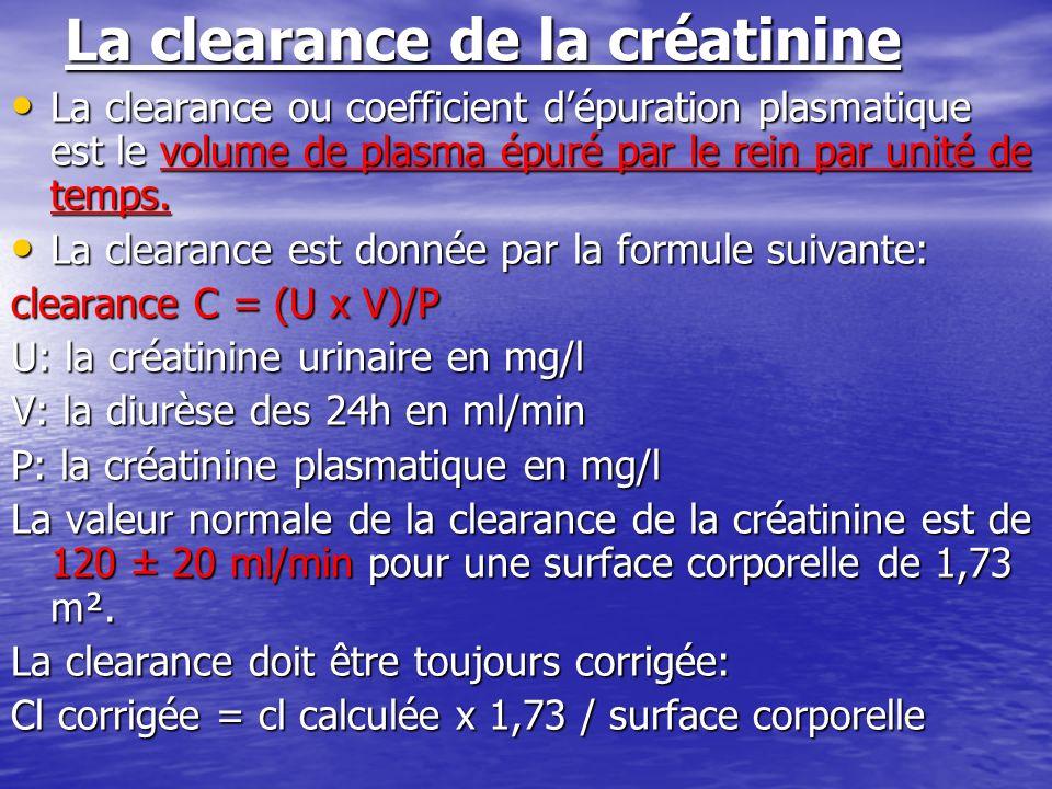 La clearance de la créatinine La clearance ou coefficient dépuration plasmatique est le volume de plasma épuré par le rein par unité de temps. La clea