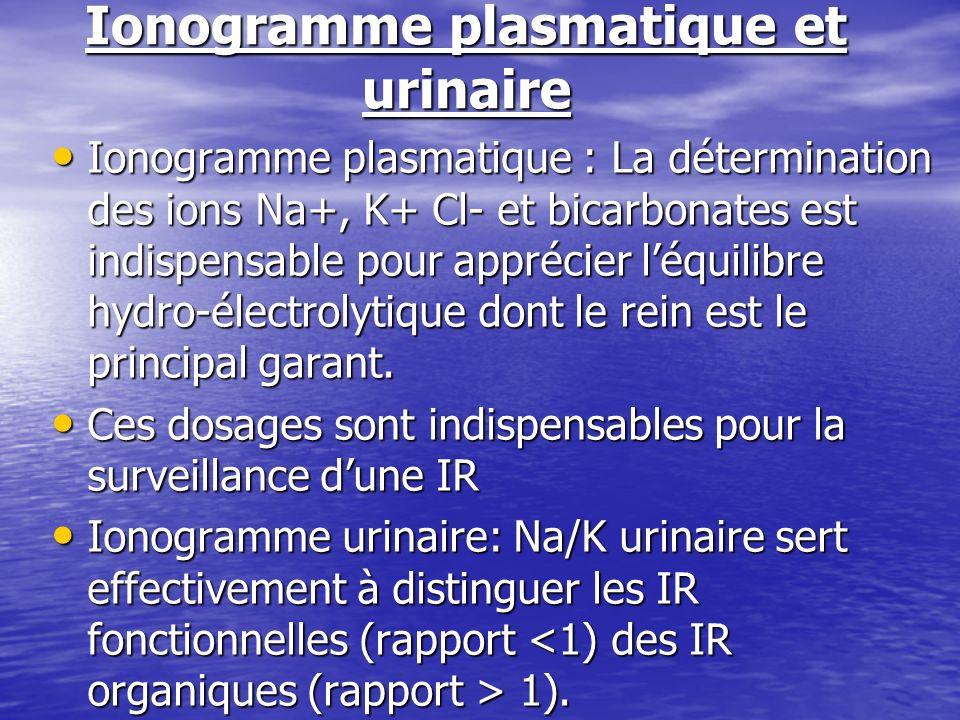 Ionogramme plasmatique et urinaire Ionogramme plasmatique : La détermination des ions Na+, K+ Cl- et bicarbonates est indispensable pour apprécier léq