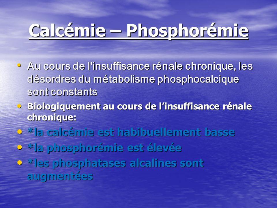 Calcémie – Phosphorémie Au cours de l'insuffisance rénale chronique, les désordres du métabolisme phosphocalcique sont constants Au cours de l'insuffi