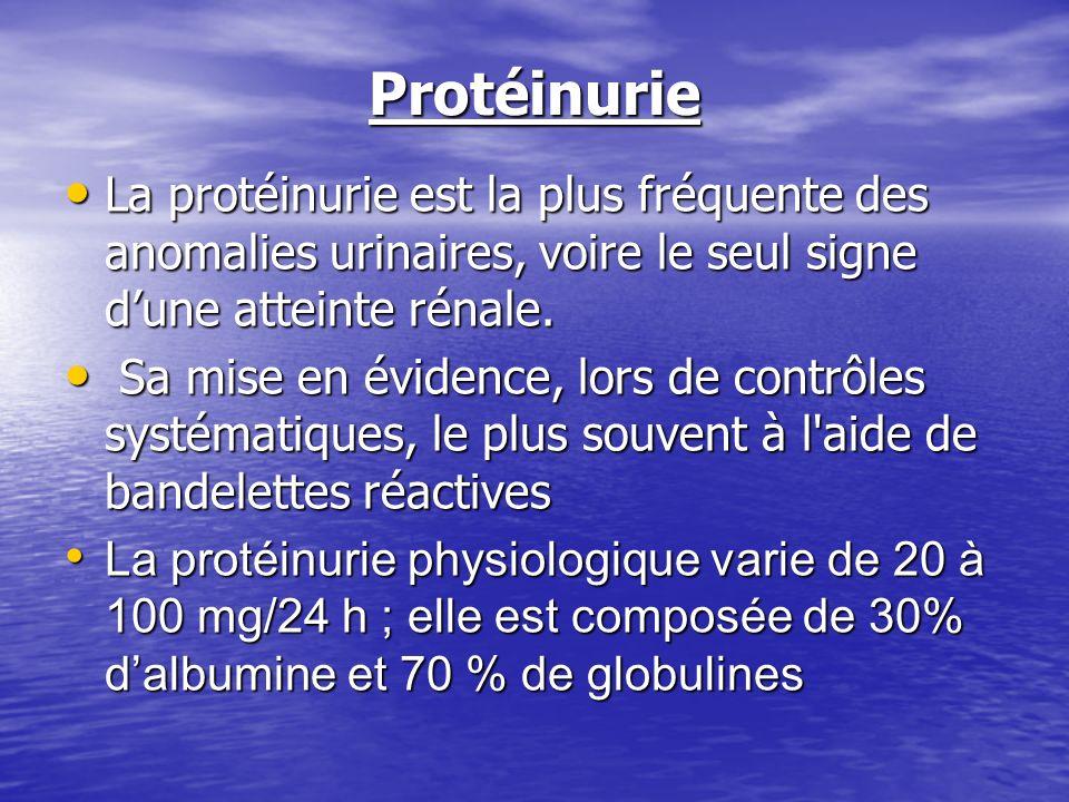 Protéinurie La protéinurie est la plus fréquente des anomalies urinaires, voire le seul signe dune atteinte rénale. La protéinurie est la plus fréquen