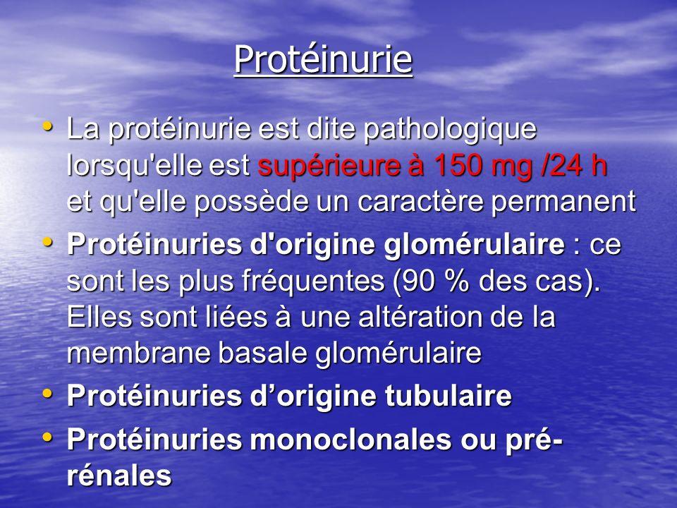 Protéinurie Protéinurie La protéinurie est dite pathologique lorsqu'elle est supérieure à 150 mg /24 h et qu'elle possède un caractère permanent La pr