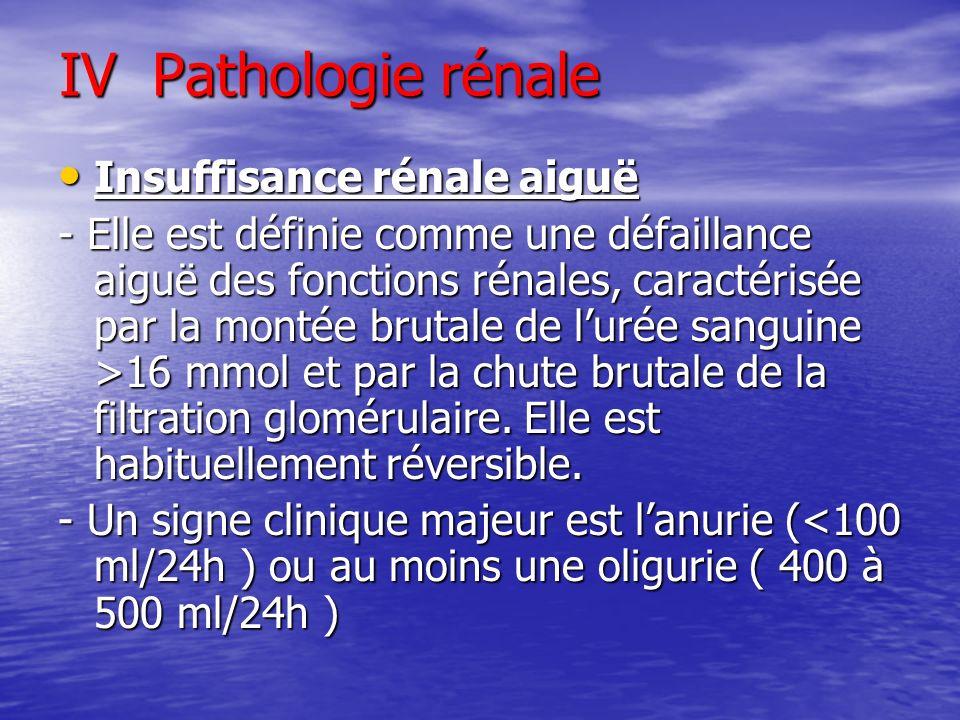 IV Pathologie rénale Insuffisance rénale aiguë Insuffisance rénale aiguë - Elle est définie comme une défaillance aiguë des fonctions rénales, caracté