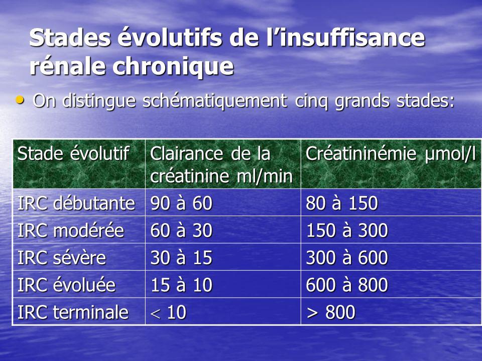 Stades évolutifs de linsuffisance rénale chronique On distingue schématiquement cinq grands stades: On distingue schématiquement cinq grands stades: S