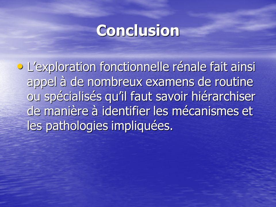 Conclusion Lexploration fonctionnelle rénale fait ainsi appel à de nombreux examens de routine ou spécialisés quil faut savoir hiérarchiser de manière