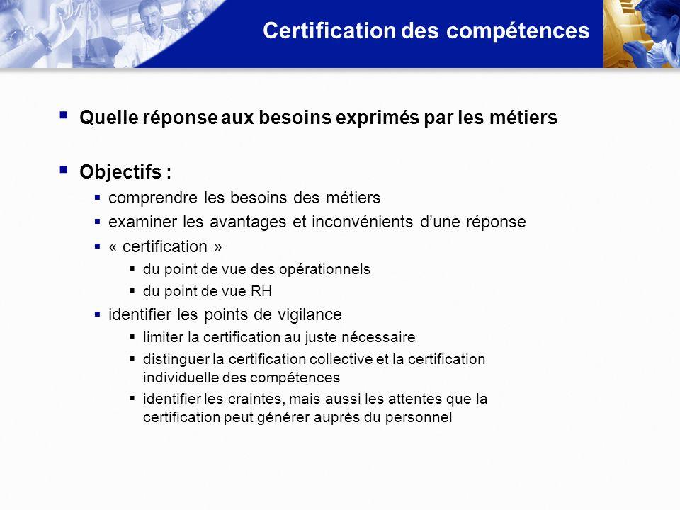 Certification des compétences Quelle réponse aux besoins exprimés par les métiers Objectifs : comprendre les besoins des métiers examiner les avantage