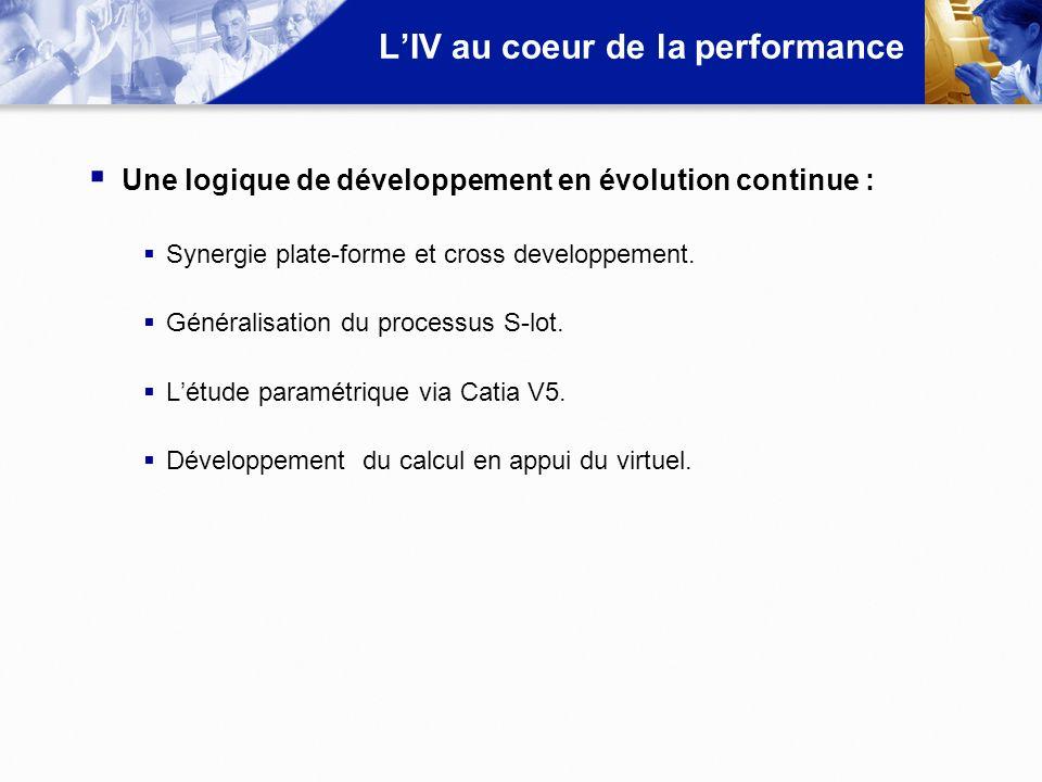 LIV au coeur de la performance Une logique de développement en évolution continue : Synergie plate-forme et cross developpement. Généralisation du pro