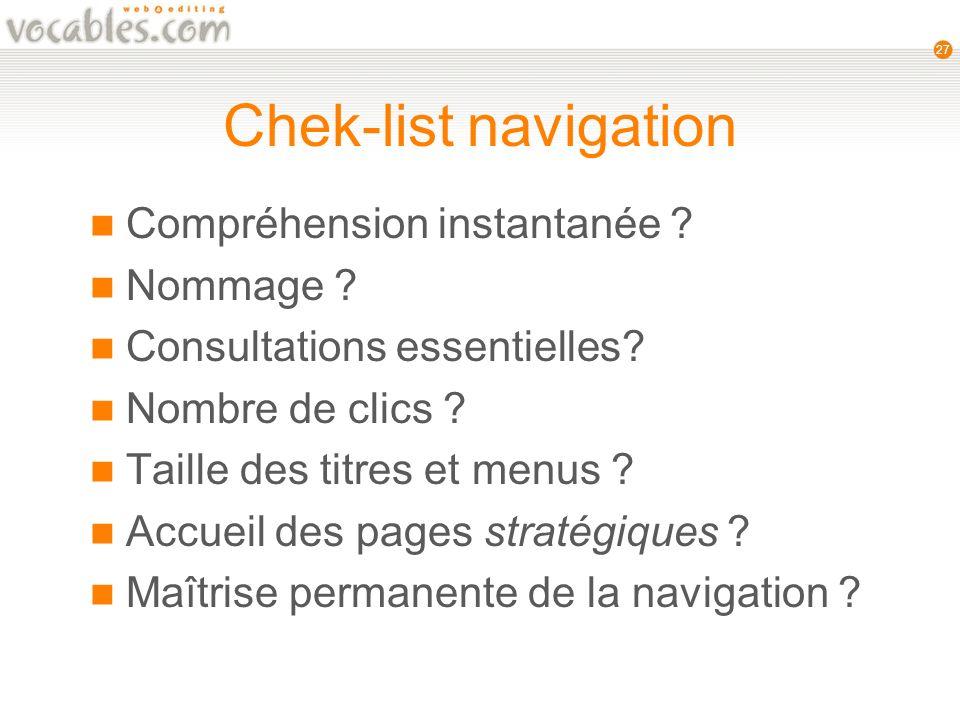 27 Chek-list navigation Compréhension instantanée .