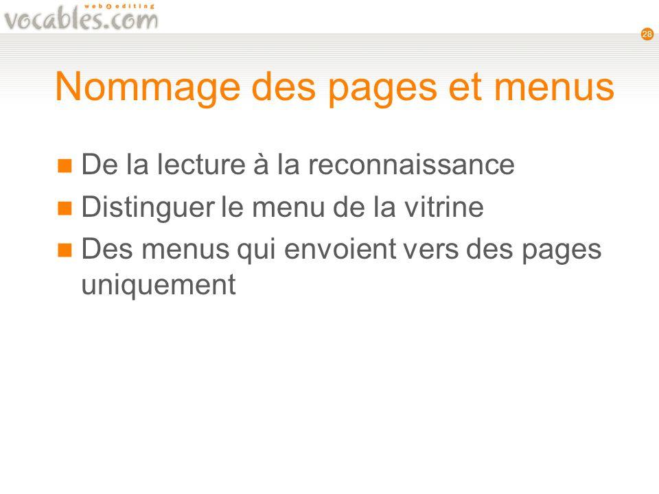 28 Nommage des pages et menus De la lecture à la reconnaissance Distinguer le menu de la vitrine Des menus qui envoient vers des pages uniquement
