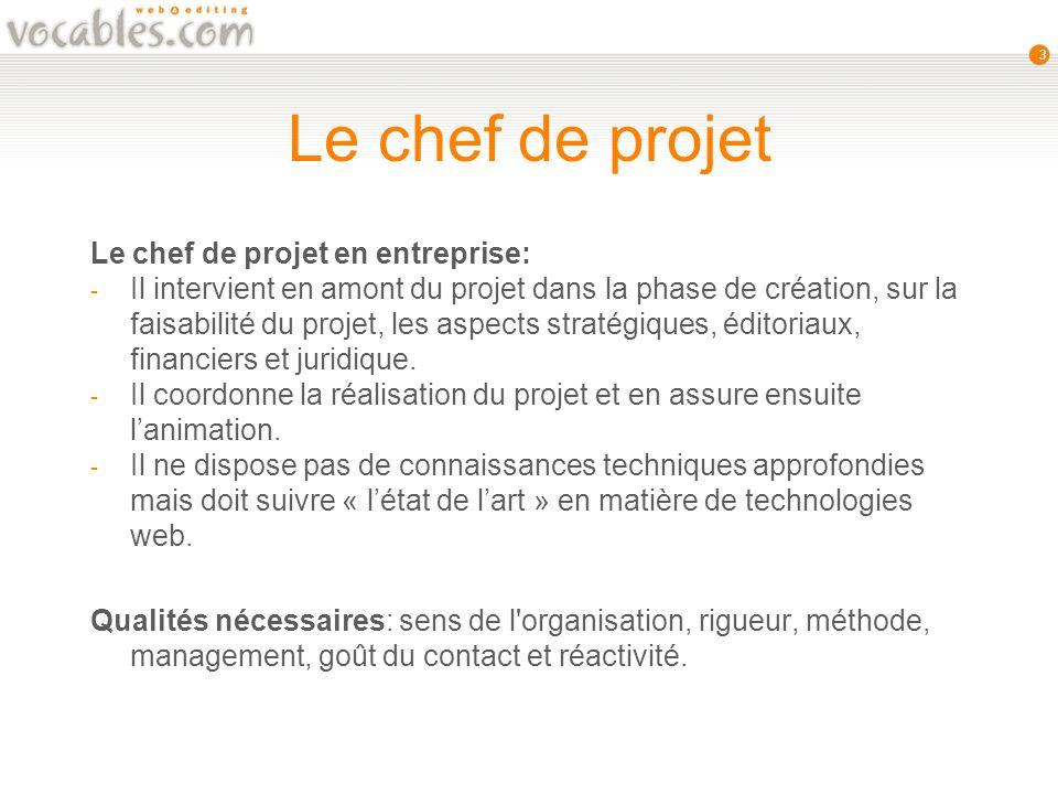 3 Le chef de projet Le chef de projet en entreprise: - Il intervient en amont du projet dans la phase de création, sur la faisabilité du projet, les aspects stratégiques, éditoriaux, financiers et juridique.