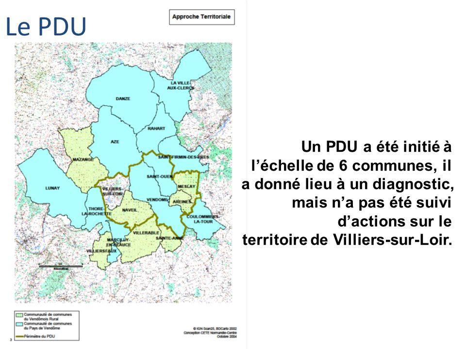 Un PDU a été initié à léchelle de 6 communes, il a donné lieu à un diagnostic, mais na pas été suivi dactions sur le territoire de Villiers-sur-Loir.