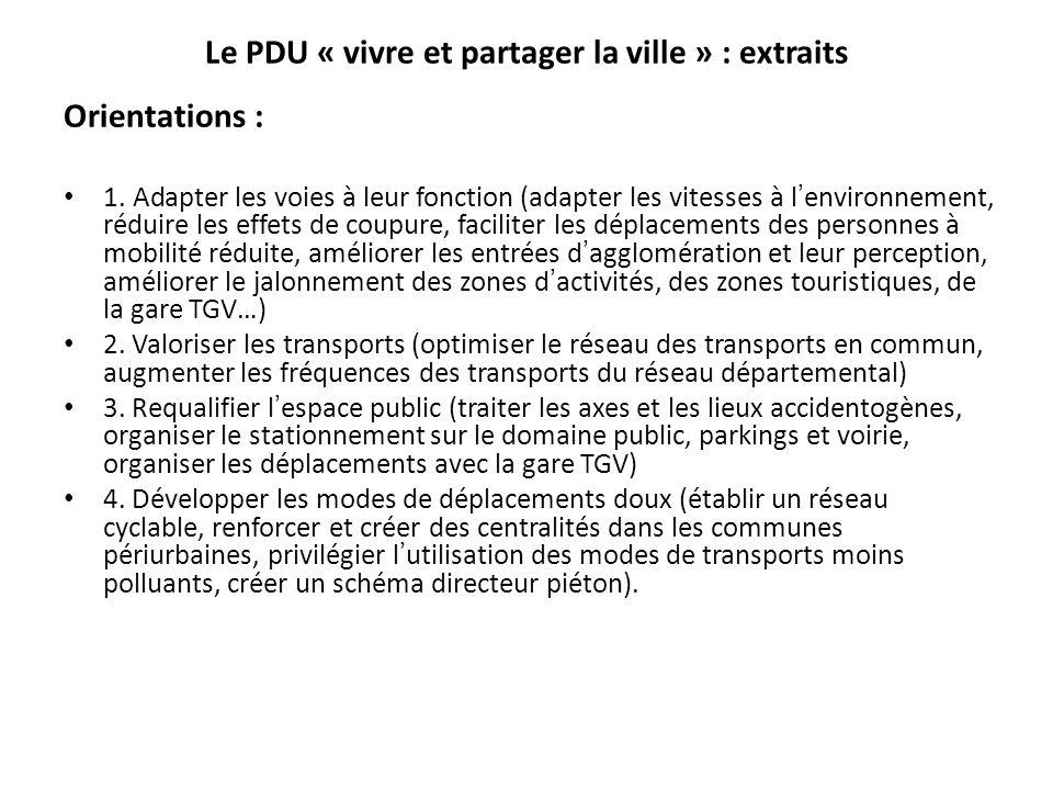 Le PDU « vivre et partager la ville » : extraits Orientations : 1.