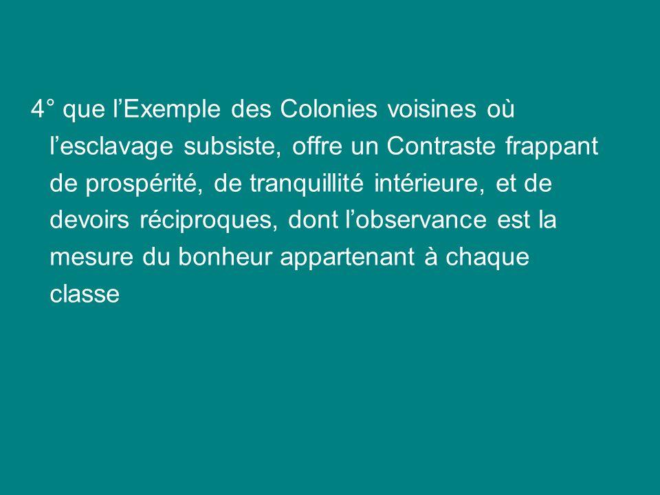 4° que lExemple des Colonies voisines où lesclavage subsiste, offre un Contraste frappant de prospérité, de tranquillité intérieure, et de devoirs réc