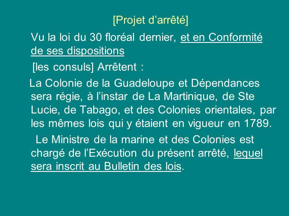 [Projet darrêté] Vu la loi du 30 floréal dernier, et en Conformité de ses dispositions [les consuls] Arrêtent : La Colonie de la Guadeloupe et Dépenda