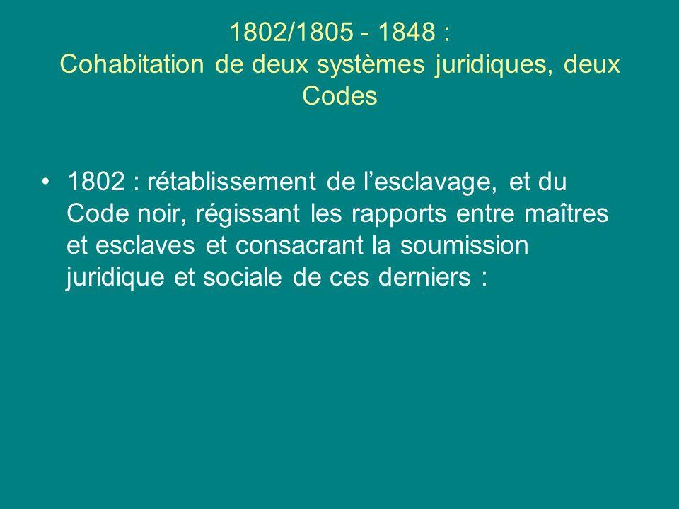 1802/1805 - 1848 : Cohabitation de deux systèmes juridiques, deux Codes 1802 : rétablissement de lesclavage, et du Code noir, régissant les rapports e