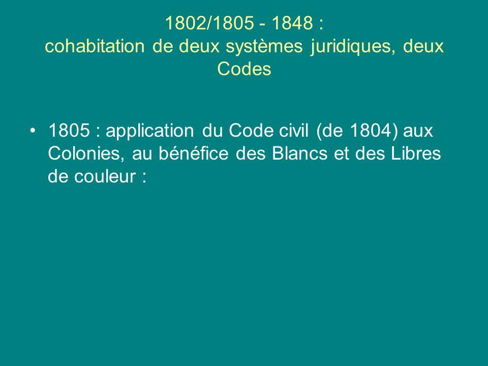 1802/1805 - 1848 : cohabitation de deux systèmes juridiques, deux Codes 1805 : application du Code civil (de 1804) aux Colonies, au bénéfice des Blanc