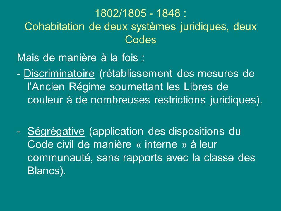 1802/1805 - 1848 : Cohabitation de deux systèmes juridiques, deux Codes Mais de manière à la fois : - Discriminatoire (rétablissement des mesures de l