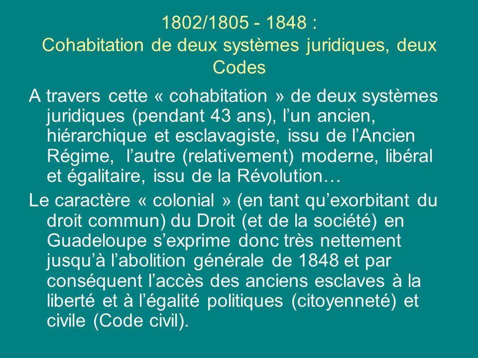 1802/1805 - 1848 : Cohabitation de deux systèmes juridiques, deux Codes A travers cette « cohabitation » de deux systèmes juridiques (pendant 43 ans),