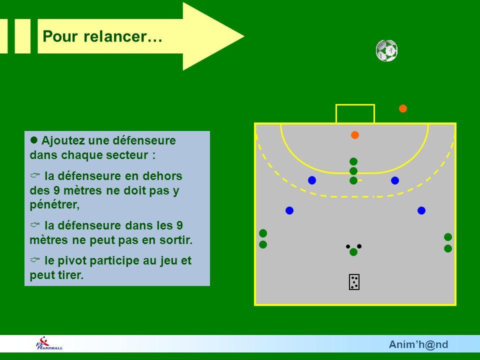 Animh@nd Ajoutez une défenseure dans chaque secteur : la défenseure en dehors des 9 mètres ne doit pas y pénétrer, la défenseure dans les 9 mètres ne peut pas en sortir.