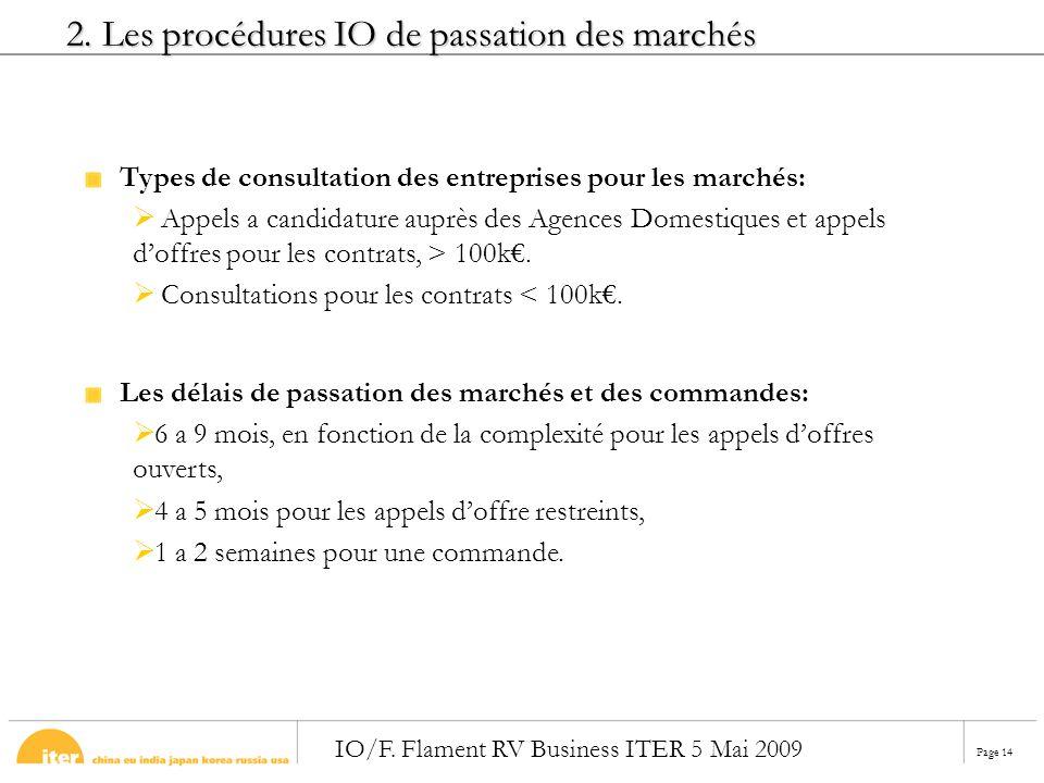 Page 14 IO/F. Flament RV Business ITER 5 Mai 2009 Types de consultation des entreprises pour les marchés: Appels a candidature auprès des Agences Dome
