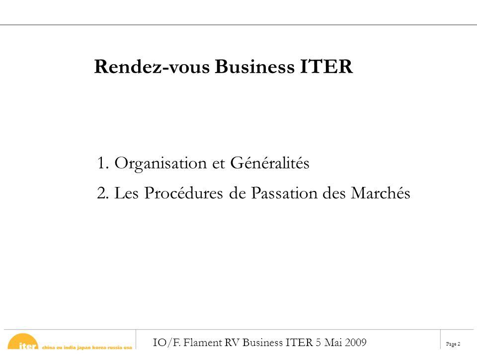 Page 2 IO/F. Flament RV Business ITER 5 Mai 2009 2. Les Procédures de Passation des Marchés 1. Organisation et Généralités Rendez-vous Business ITER