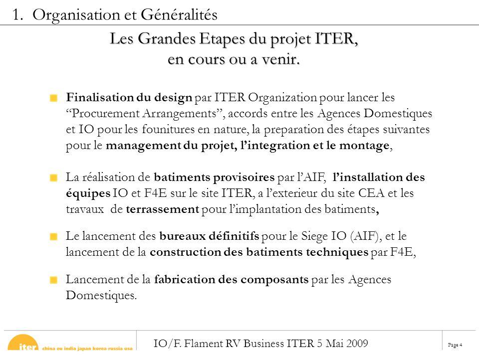 Page 4 IO/F. Flament RV Business ITER 5 Mai 2009 Les Grandes Etapes du projet ITER, en cours ou a venir. Finalisation du design par ITER Organization