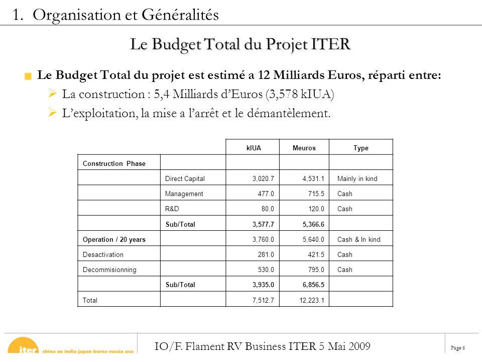 Page 6 IO/F. Flament RV Business ITER 5 Mai 2009 Le Budget Total du Projet ITER Le Budget Total du projet est estimé a 12 Milliards Euros, réparti ent