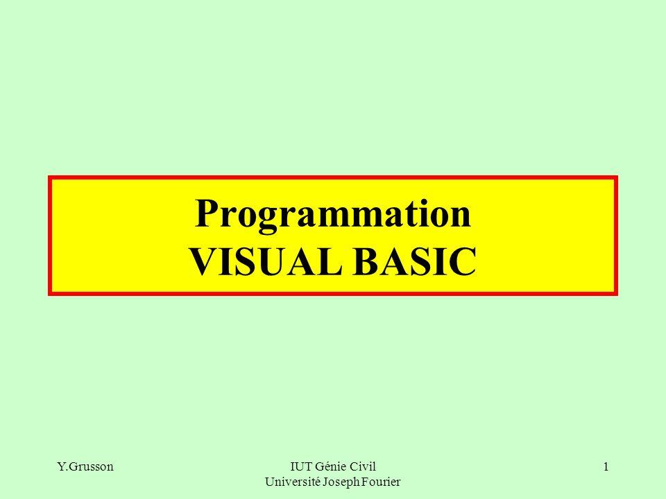 Y.GrussonIUT Génie Civil Université Joseph Fourier 22 L expression_logique est une expression calculée qui ne peut retourner que 2 valeurs : VRAI ou FAUX (TRUE ou FALSE) Comme toute opération elle a un ensemble d opérateurs.