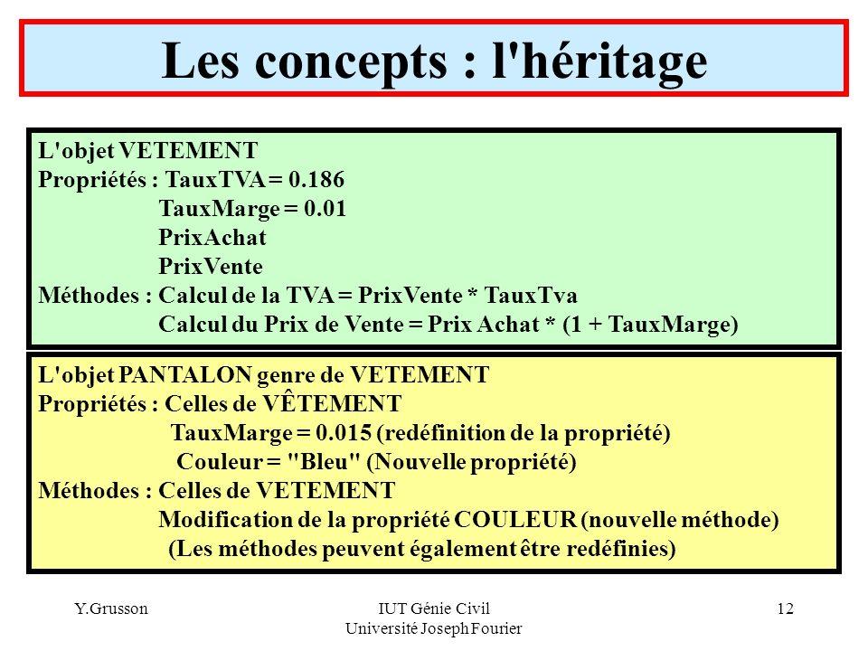 Y.GrussonIUT Génie Civil Université Joseph Fourier 12 Les concepts : l'héritage L'objet VETEMENT Propriétés : TauxTVA = 0.186 TauxMarge = 0.01 PrixAch