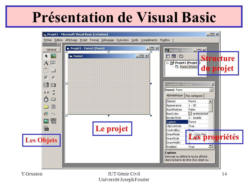 Y.GrussonIUT Génie Civil Université Joseph Fourier 14 Présentation de Visual Basic Les Objets Les propriétés Structure du projet Le projet