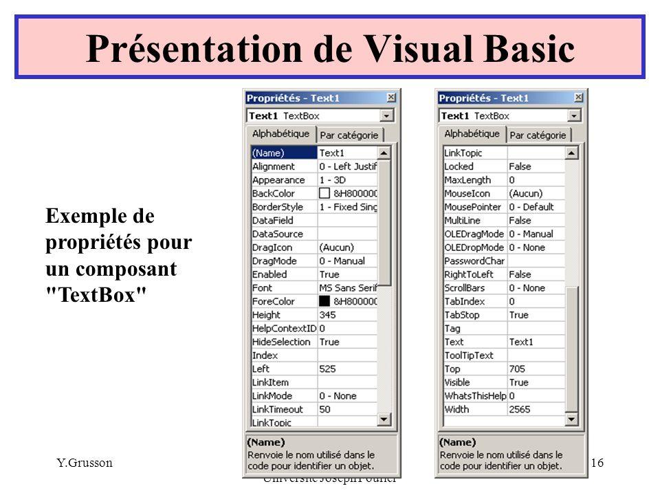 Y.GrussonIUT Génie Civil Université Joseph Fourier 16 Présentation de Visual Basic Exemple de propriétés pour un composant