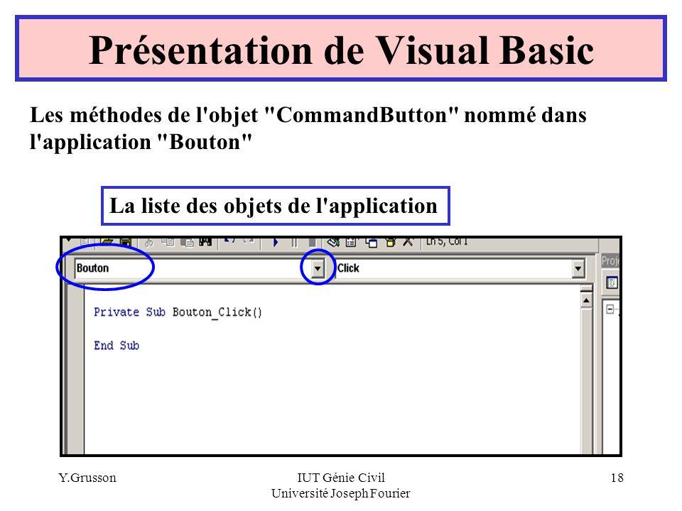 Y.GrussonIUT Génie Civil Université Joseph Fourier 18 Présentation de Visual Basic Les méthodes de l'objet