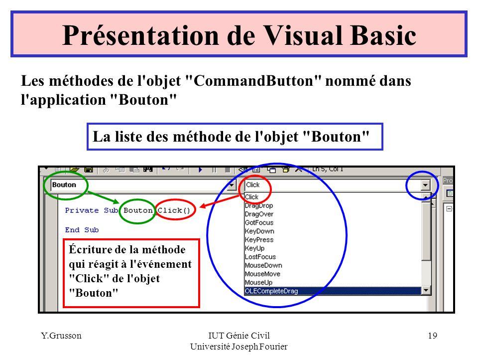 Y.GrussonIUT Génie Civil Université Joseph Fourier 19 Présentation de Visual Basic Les méthodes de l'objet